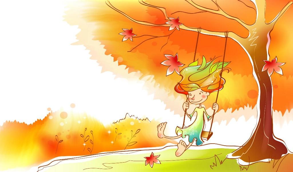 壁纸1024×600秋天的童话 橙色卡通宽屏壁纸 壁纸1壁纸 秋天的童话 橙色卡通壁纸图片动漫壁纸动漫图片素材桌面壁纸