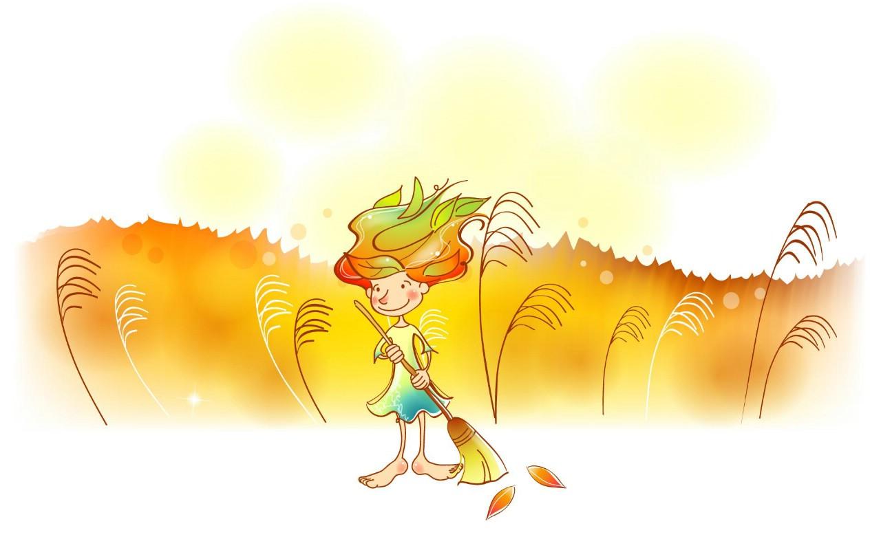 秋天的童话 橙色卡通宽屏壁纸 壁纸7
