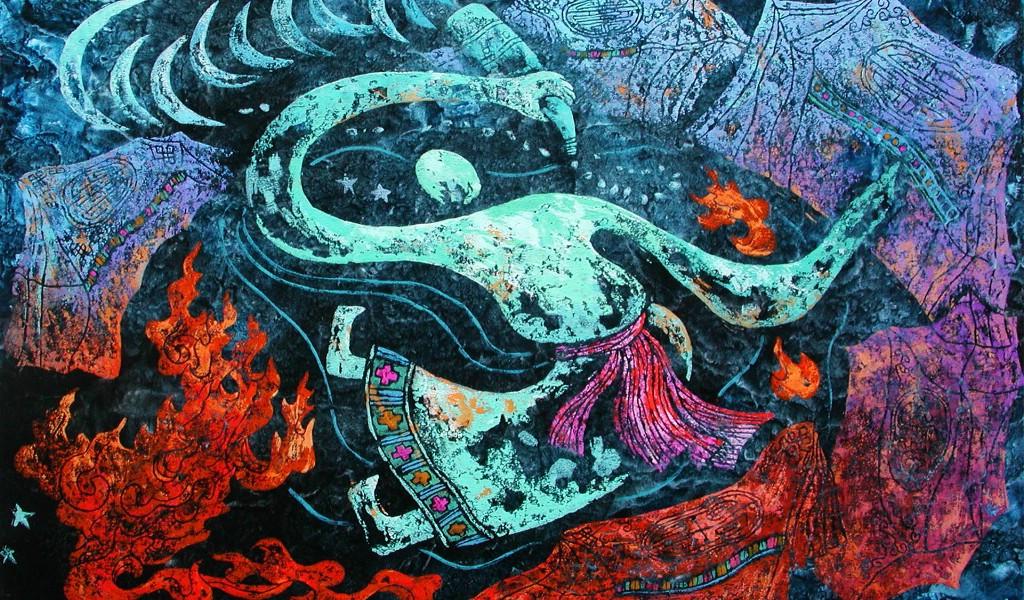 壁纸1024×600藏族祥巴版画 壁纸7壁纸 藏族祥巴版画壁纸图片绘画壁纸绘画图片素材桌面壁纸