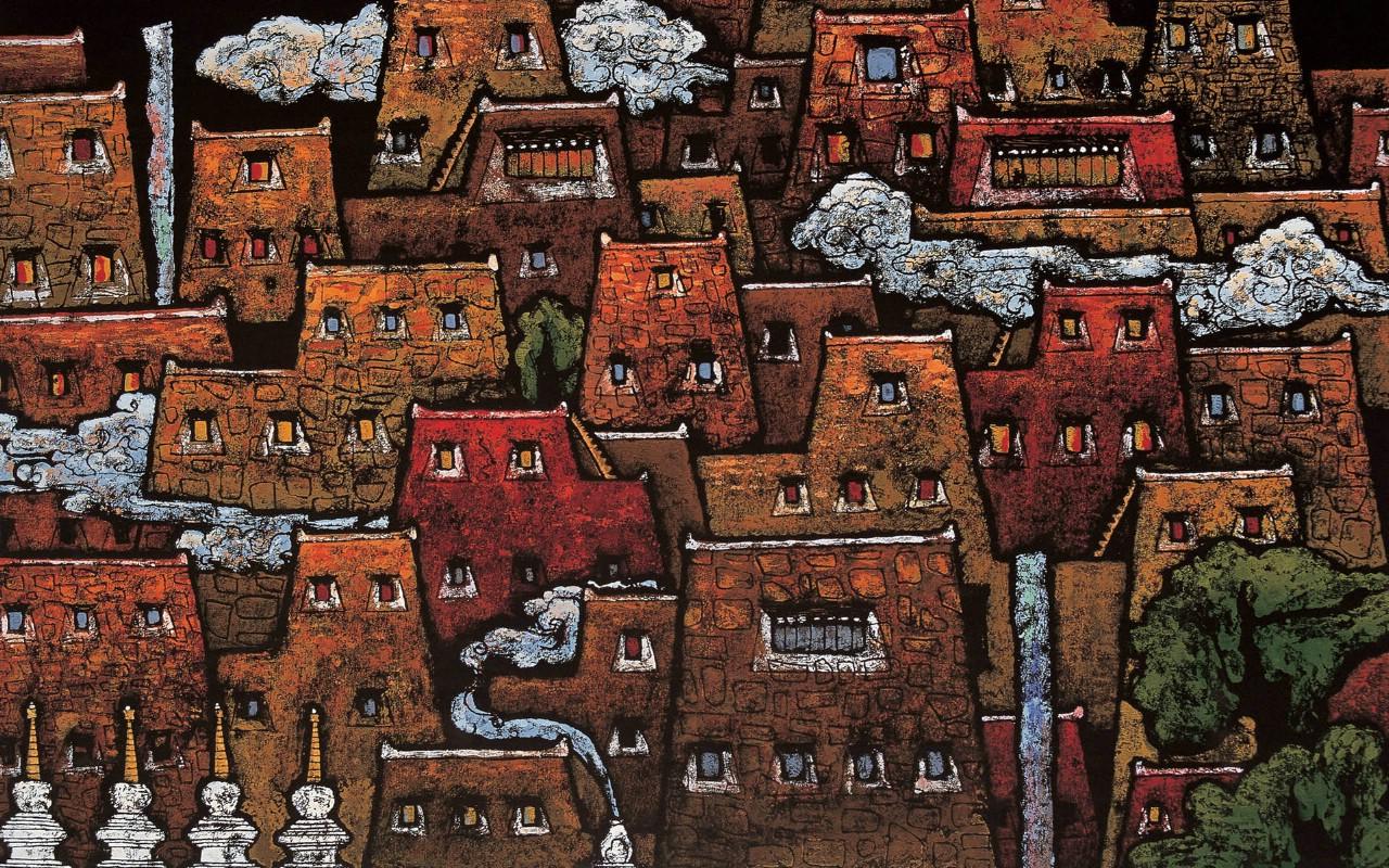 壁纸1280×800藏族祥巴版画 壁纸40壁纸 藏族祥巴版画壁纸图片绘画壁纸绘画图片素材桌面壁纸