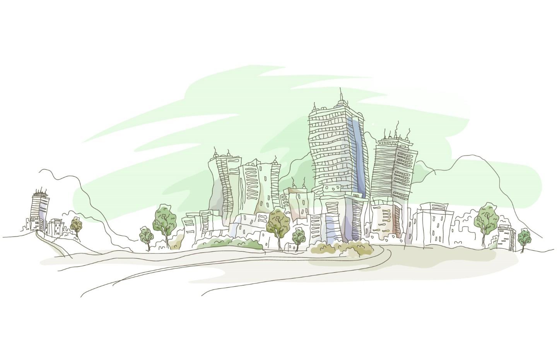 城市风景 风景漫画 城市 手绘 手绘城市 动漫动画 设计 7.