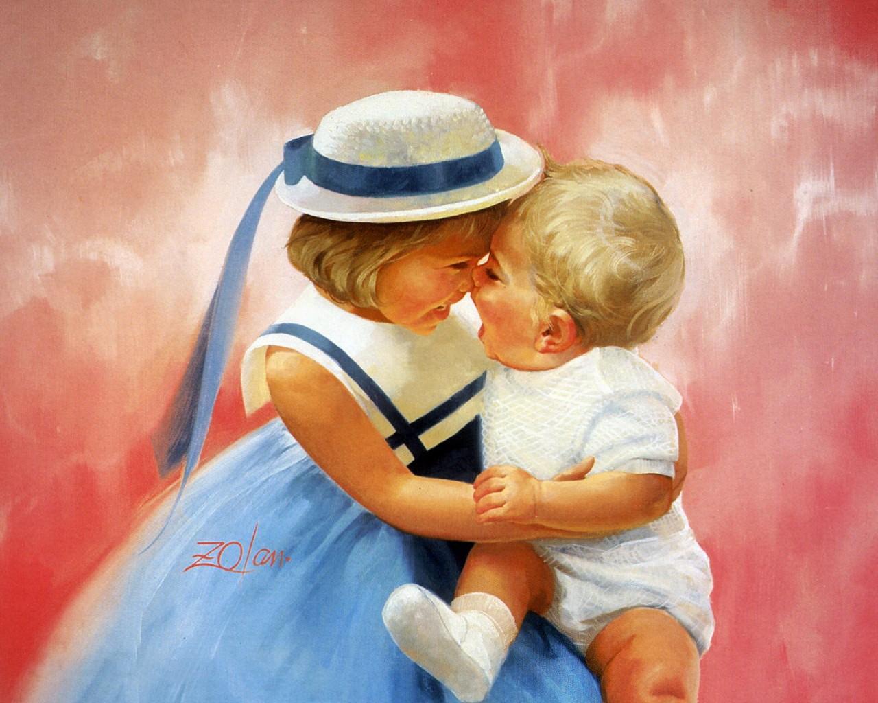 壁纸1280×1024令人怀念的美好童年油画壁纸 壁纸16壁纸 令人怀念的美好童年油壁纸图片绘画壁纸绘画图片素材桌面壁纸