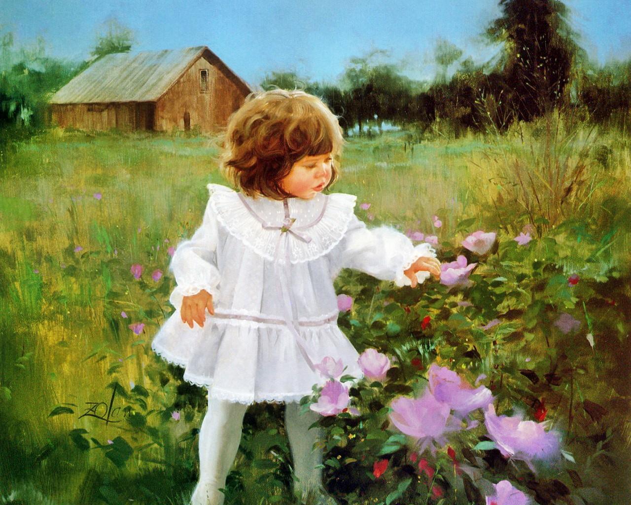壁纸1280×1024令人怀念的美好童年油画壁纸 壁纸30壁纸 令人怀念的美好童年油壁纸图片绘画壁纸绘画图片素材桌面壁纸