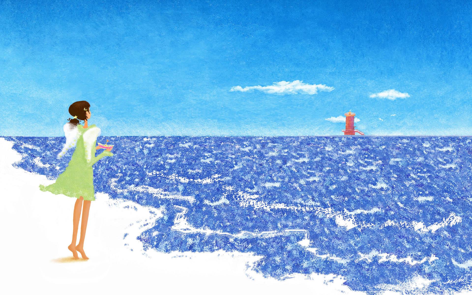 壁纸1920×1200手绘浪漫女孩 壁纸23壁纸 手绘浪漫女孩壁纸图片绘画壁纸绘画图片素材桌面壁纸