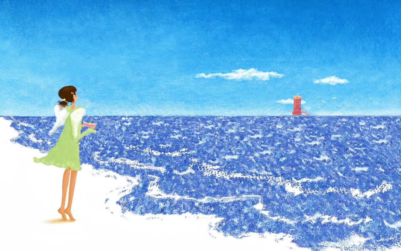 壁纸1280×800手绘浪漫女孩 壁纸23壁纸 手绘浪漫女孩壁纸图片绘画壁纸绘画图片素材桌面壁纸