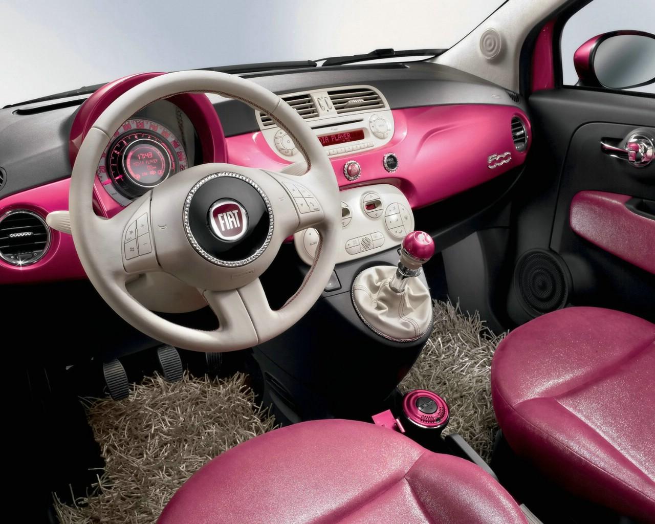 壁纸1280×1024菲亚特Fiat 500全新Barbie芭比娃娃版汽车 ...