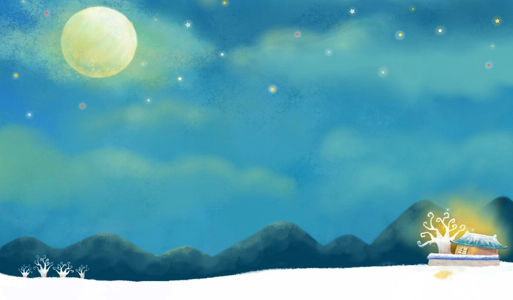壁纸1024×600可爱温馨圣诞插画宽屏壁纸 壁纸1壁纸 可爱温馨圣诞插画宽屏壁纸图片系统壁纸系统图片素材桌面壁纸