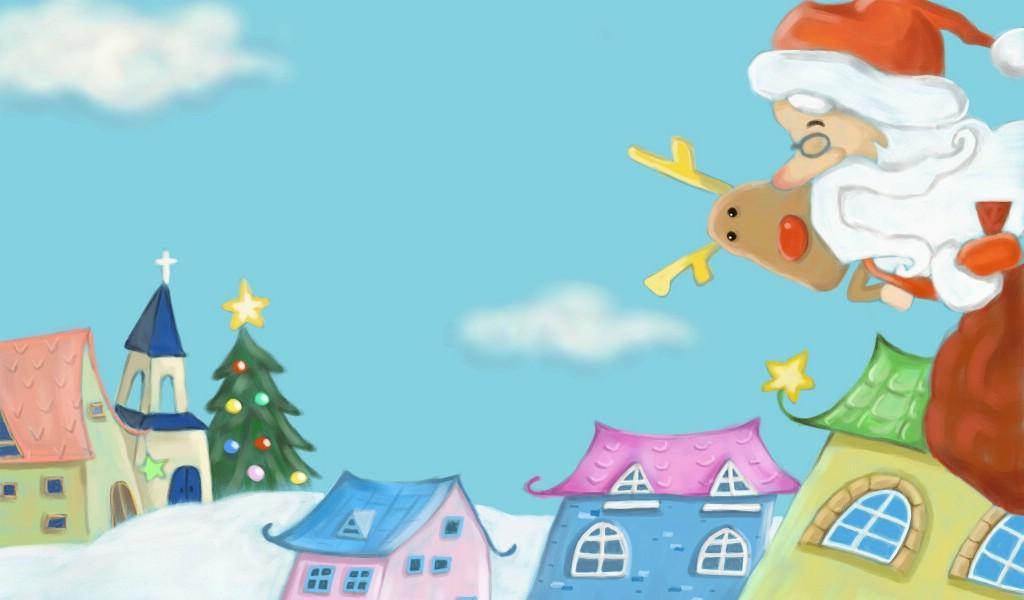 壁纸1024×600可爱温馨圣诞插画宽屏壁纸 壁纸9壁纸 可爱温馨圣诞插画宽屏壁纸图片系统壁纸系统图片素材桌面壁纸