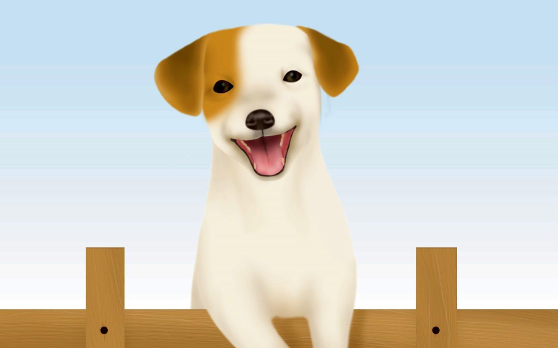 壁纸1440×900可爱小狗插画