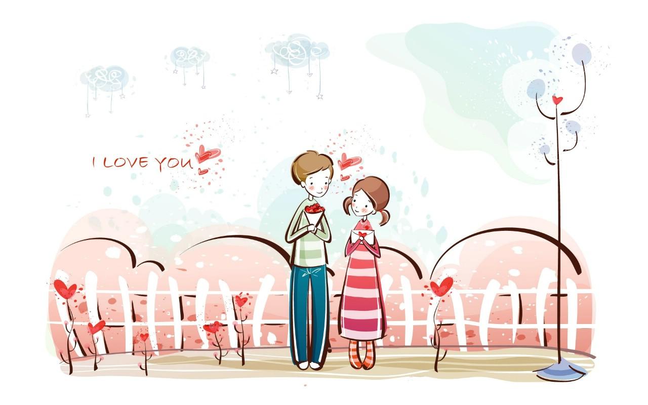 爱情宽屏卡通壁纸